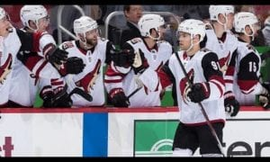 Hall snipes home a beauty for his first goal as a Coyote